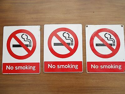 "ANTIQUE VINTAGE ENAMEL SIGN 'NO SMOKING' LONDON UNDERGROUND 10""x8"" POSTAGE FREE"