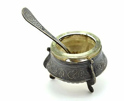 Russian Empire Vintage Antique Russian Silver Caviar phase with a spoon. 75 g