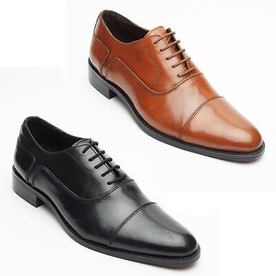 Lucini Mens Real Leather Black & Tan Oxford Shoes