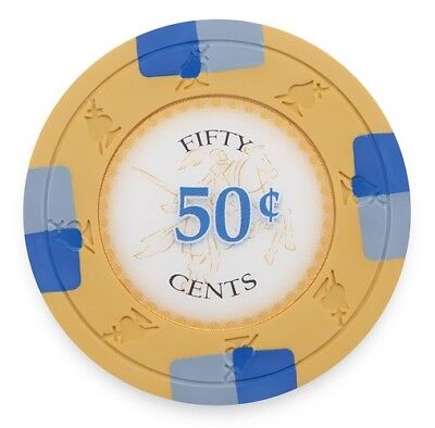 50 Orange 50¢ Cent Poker Knights 13.5g Clay Poker Chips New - Buy 2, Get 1 Free
