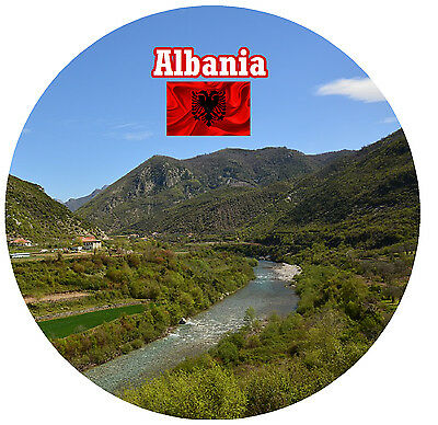 Albania - Round Souvenir Fridge Magnet -  Flags / Sights - Brand New - Gifts