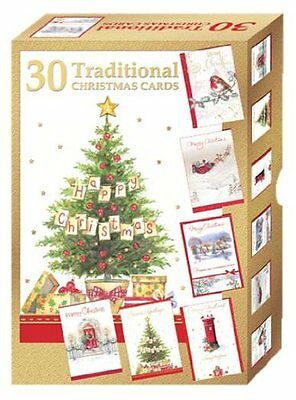 Assorted Bumper Box of 30 Traditional Christmas Cards HSX2152 6 Designs per pack