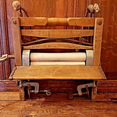 1917 Antique German Velo Crank Laundry Clothes Washer Wringer Merk Wood