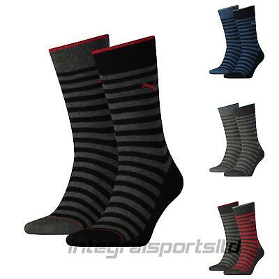 Puma Mens Socks Classic Stripe Cotton Sports Crew Sock (2 Pair Pack) UK 6-14