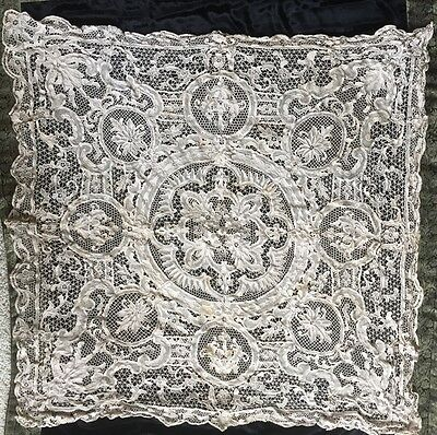 "BEAUTIFUL Antique Ecru Lace floral Point De Venise 50"" Square Tablecloth 1 of 3"