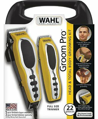 Shaver Trimmer Hair Cutting Clipper Wahl 22-Piece Kit Razor Men Grooming Pro Set