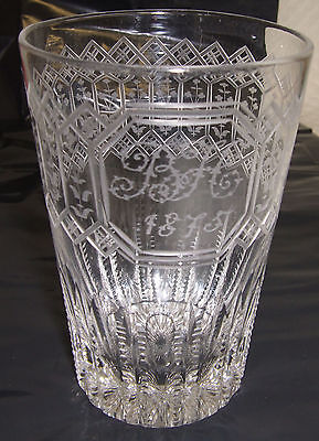 Victorian Engraved Glass Tumbler Initialed Bh Dated 1875