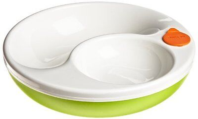 Keep Food Warm Warming Dish Baby food Plate Feeding Divided Green Sprouts Sage