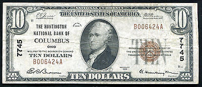 1929 $10 The Huntington Nb Of Columbus, Oh National Currency Ch. #7745