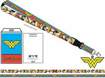 Licensed DC Comics Wonder Woman Lanyard With Charm, Key Ring, And ID Holder