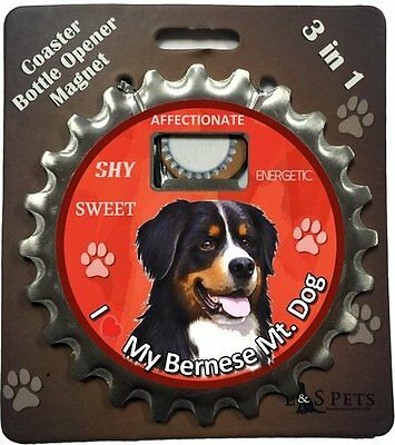 Bernese Mountain Dog Bottle Ninja Stainless Steel Coaster Opener Magnet