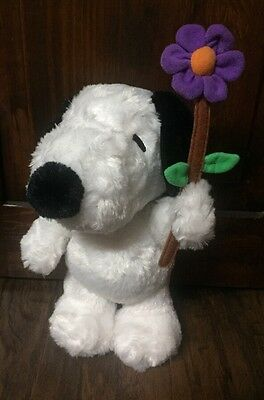 """Cute Peanuts """"Snoopy"""" Holding Flower 12' Collectible Plush by Dayspring EUC"""