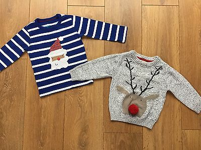 Bundle Baby Boys NEXT Christmas Jumper & Santa Top 12-18 Months VGC!