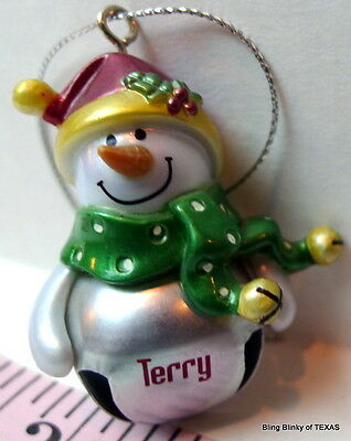 Jingle Bell TERRY Snowman Name Ornament Ganz