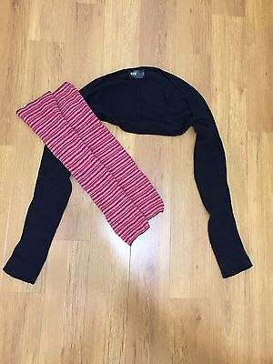 Black Dance Sleeves and Red Striped Leg Warmers Combo Set - One Size