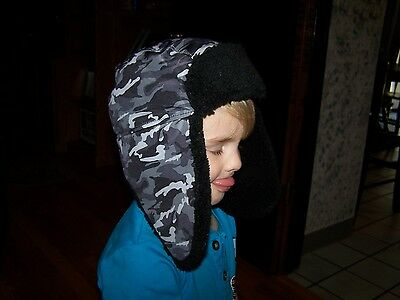 Toddler Boy's Grey Camo Hunting Hat~Too Cute~Fleece lined~NWOT