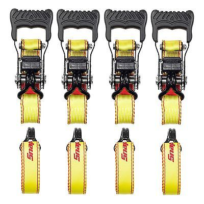 "New Set of 4 Ratchet Tie Down Straps Snap-On 1-1/2"" x 15' Heavy Duty"