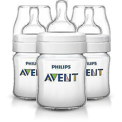 Philips Avent Anti-colic Baby Bottles Clear, 4oz, 3 Piece New