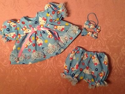 "Cabbage Patch Clothes for 16"" Doll Dress Set Hello Kitty Print So Sweet!"