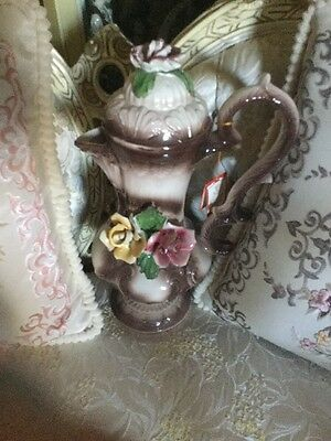 Capodimonte Porcelain Italy Coffee Pot with Lid