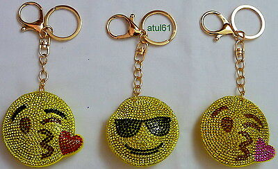 Emoji Smiley Face Rhinestone DIAMANTE Keyring Hand Bag Charm Key Chain Gift NEW