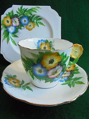 AYNSLEY FLOWER HANDLE CUP TRIO WILD ANENOME c1930 TEA CUP SAUCER PLATE