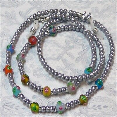Silver Grey pearl lampwork - Reading eye glasses spectacle chain holder lanyard