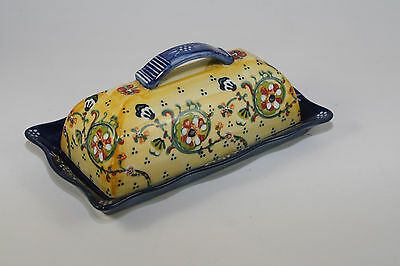 Hand Painted Butter Dish & Lid w/ Handle  Country French Floral Scroll Design