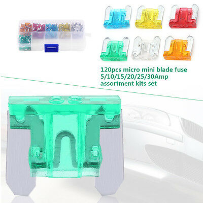 120Pcs Micro Blade Mini Fuse Assortment 5A-30A Car Auto Truck SUV DY