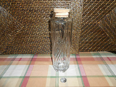 """Jar cork lid 9.5"""" tall clear glass container swirl design"""