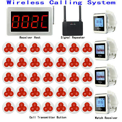 Wireless Calling Paging System+Watch Receiver&Host+Signal Repeater+ call Button