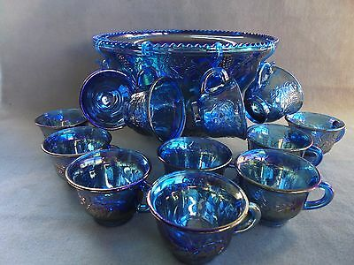Carnival Glass Punch Bowl Set Indiana Glass Grape & Vine