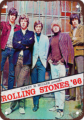 """9"""" x 12"""" Metal Sign - 1966 Rolling Stones Tour - Vintage Look Reproduction"""