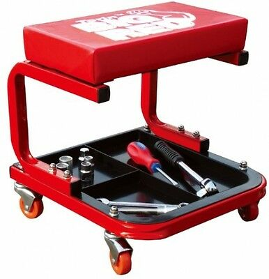 Rolling Creeper Garage Shop Mechanic Seat Padded Chair Stool w/ Tool Tray Shelf