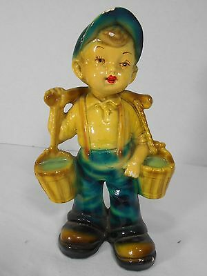 Vtg 1940's Roman Art Co. Boy Carrying Water Buckets Robia Ware Chalkware Figure
