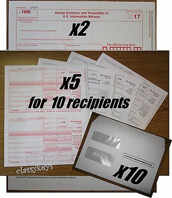 2017 IRS TAX FORMS KIT:: 1099-MISC Laser for 10 recipients + 10 env + 2 1096