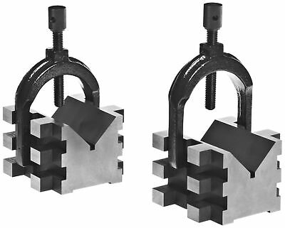 Brown & Sharpe 750-2 4 Piece V Block and Clamp Pair Set, Hardened Steel, 0.0