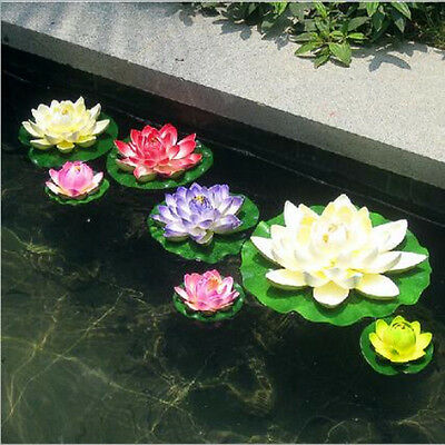 1PC Artificial Lotus Floating Water Lily Flower Leaf Plants Home Pool Decoration