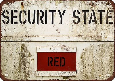 "9"" x 12"" Metal Sign - Security State Red - Vintage Look Reproduction"