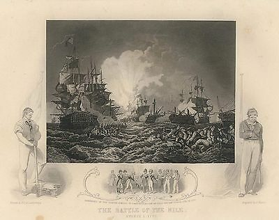 c1860 Seeschlacht bei Abukir Battle of the Nile 1798 Admiral Nelson Stahlstich