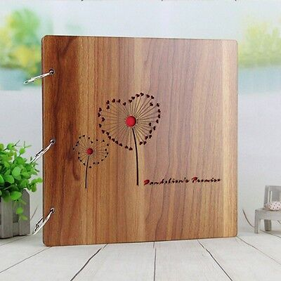 Photo Album Wooden Cover Family Record Picture Book Holder Kid Fun DIY Scrapbook