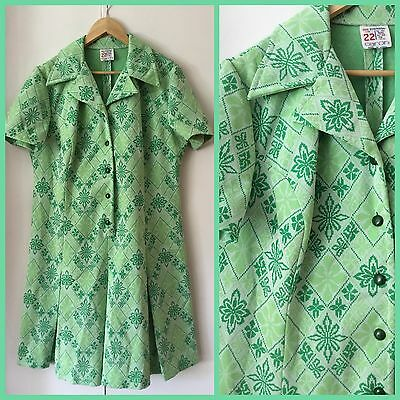 VINTAGE 60's 70's Funky SPEARMINT GREEN DAY DRESS Retro 22