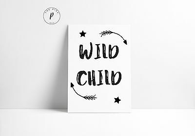 Wild Child Kids Room Quote Wall Art Print Black & White Typography Word Poster