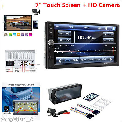 """7"""" Double 2DIN Car FM MP5 Player Bluetooth Touch Screen Stereo Radio HD +Camera"""