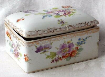 C19Th Dresden Hand Painted Hinged Trinket Box With Various Flowers A/f