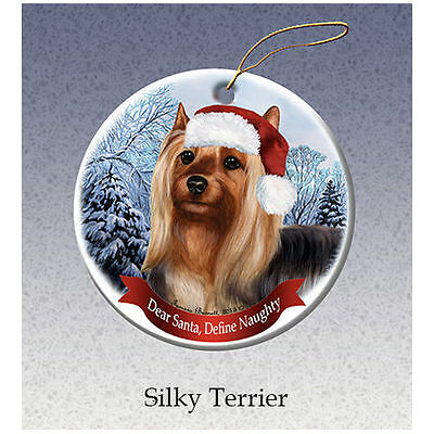 Silky Terrier Howliday Porcelain China Dog Christmas Ornament