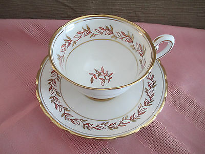 ROYAL TUSCAN TEA CUP AND SAUCER  RED and GOLD VINE PATTERN