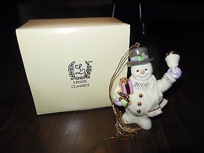 Lenox China Collectible 2000 Snowman Ringing in New Year Ornament