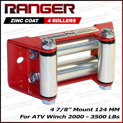 "Ranger ATV Roller Fairlead 4 7/8"" 124MM Mount for 2000-3500 LBs ATV Winch - RED"