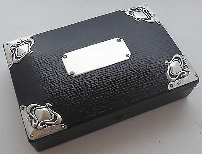 1906 Art Nouveau Hallmarked Solid Silver and Leather Box Jewellery Card